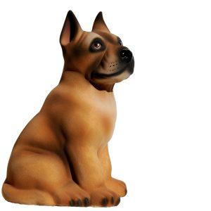 Керамическая копилка собаки Дог бежевый флок