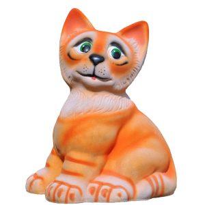 Керамическая копилка котика Ивашка рыжий флок