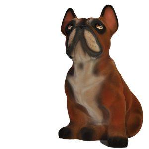 Керамическая копилка собаки породы Французский бульдог шоколадного цвета флок