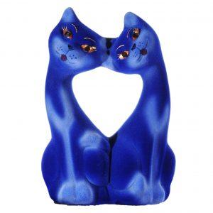 Керамическая копилка пары котиков Поцелуи василек
