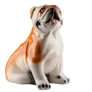Керамическая Копилка собака Бульдог белый глянец