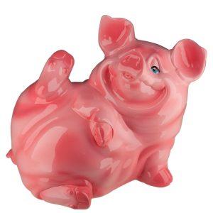 Керамическая Копилка Поросенок Жора розовый глянец