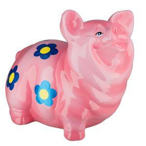 Керамическая копилка Свинка Манюня премиум розовая глянец