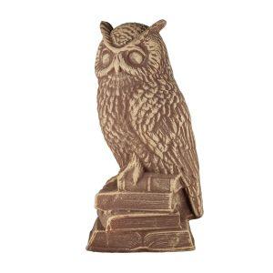 Керамическая статуэтка Сова на Книгах коричневая под камень