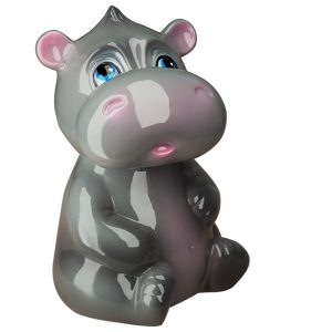 Детская Копилочка Бегемотик серый глянец