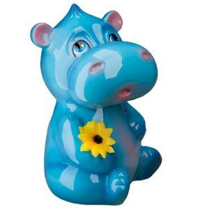 Детская Копилочка Голубой Бегемотик глянец