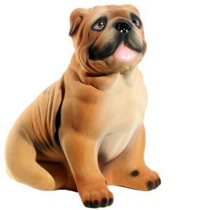 Керамическая Копилка Собака Бульдог бежевый флок