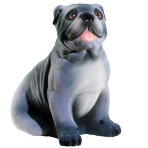 Керамическая Копилка Собаки Бульдог серый флок