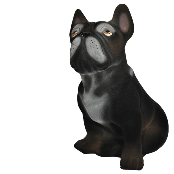 Керамическая копилка собаки породы Французский бульдог черного цвета