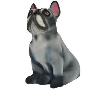Керамическая копилка собаки породы Французский бульдог серого цвета флок