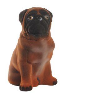 Керамическая копилка Мопс шоколадный флок