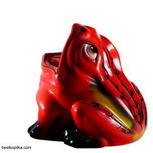 Керамическая статуэтка Жаба красн с узором