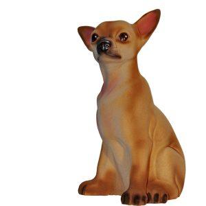 Керамическая копилка собаки Чихуа бежевая флок