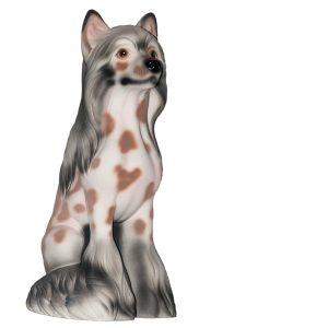 Керамическая Копилка собачки Китайская Хохлатая флок