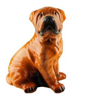 Керамическая Копилка собака Шарпей бежевый глянец