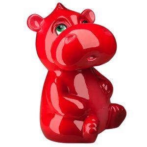 Детская Копилочка Красный бегемотик глянец