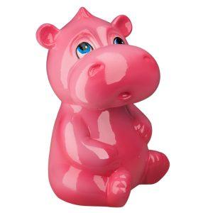 Детская Копилочка Бегемотик розовый глянец