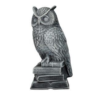 Керамическая статуэтка Сова на книгах серая камень