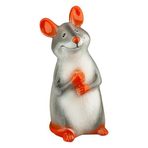 Скарбничка керамічна пацюк Іриска сіра глянець