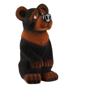 Керамічна скарбничка чорний Ведмідь флок