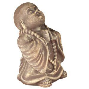 Керамический сувенир буддийский Монах под камень коричневый