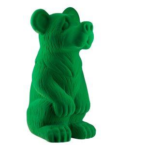 Зеленая керамическая садовая фигура Медведь флок