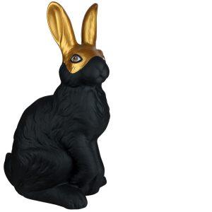 Копилка керамическая черный Заяц в золотой маске