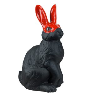 Керамический черный Заяц в красной маске