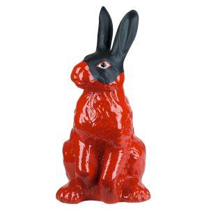 Керамический Красный Заяц в черной маске