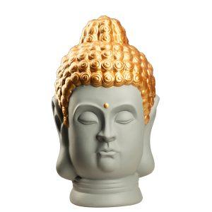 Статуетка Голова Будди сіра с золотом