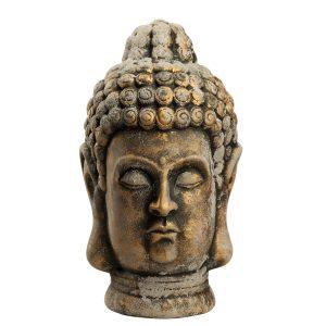 Голова Будды старый серый камень на бронзе