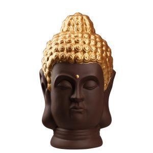 Статуэтка Голова Будды темно-коричневая с золотом