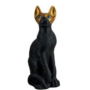 Керамическая копилка черный Кот Сфинкс в золотой маске