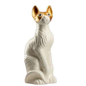 Керамічна скарбничка білий кіт Сфінкс в золотій масці
